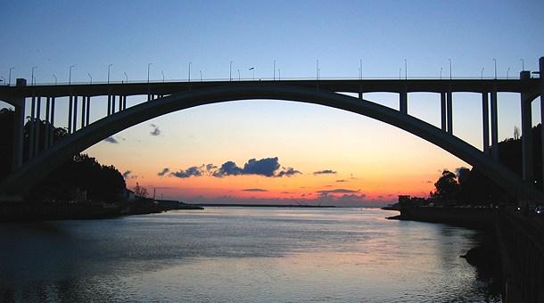 Atardecer en el puente, Oporto