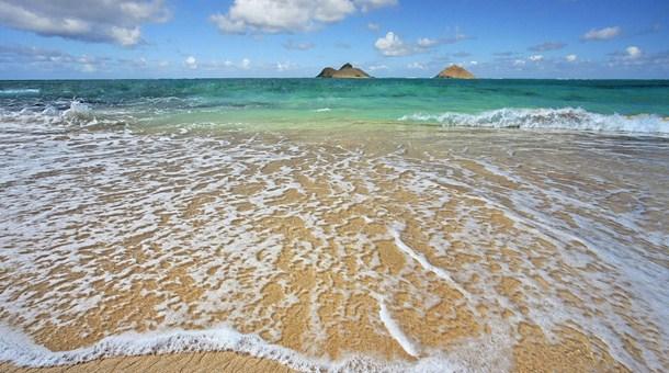 Orilla de la playa, Oahu, Hawaii
