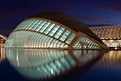 Ciudad de las artes y las ciencias de noche, Valencia