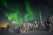 Luces nocturnas, fenómeno invernal, Laponia