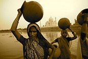 Taj Mahal desde el río Yamuna, Agra