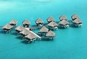 Vista aérea de los alojamientos, Bora Bora